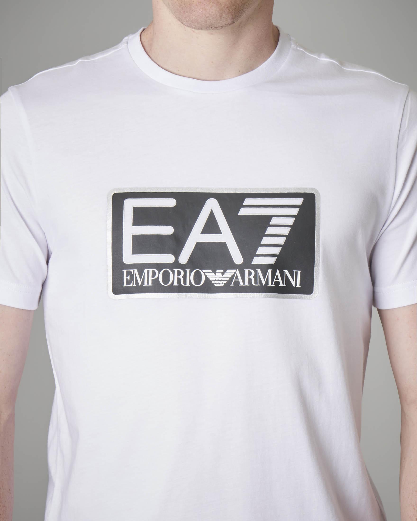 T-shirt bianca in jersey con logo