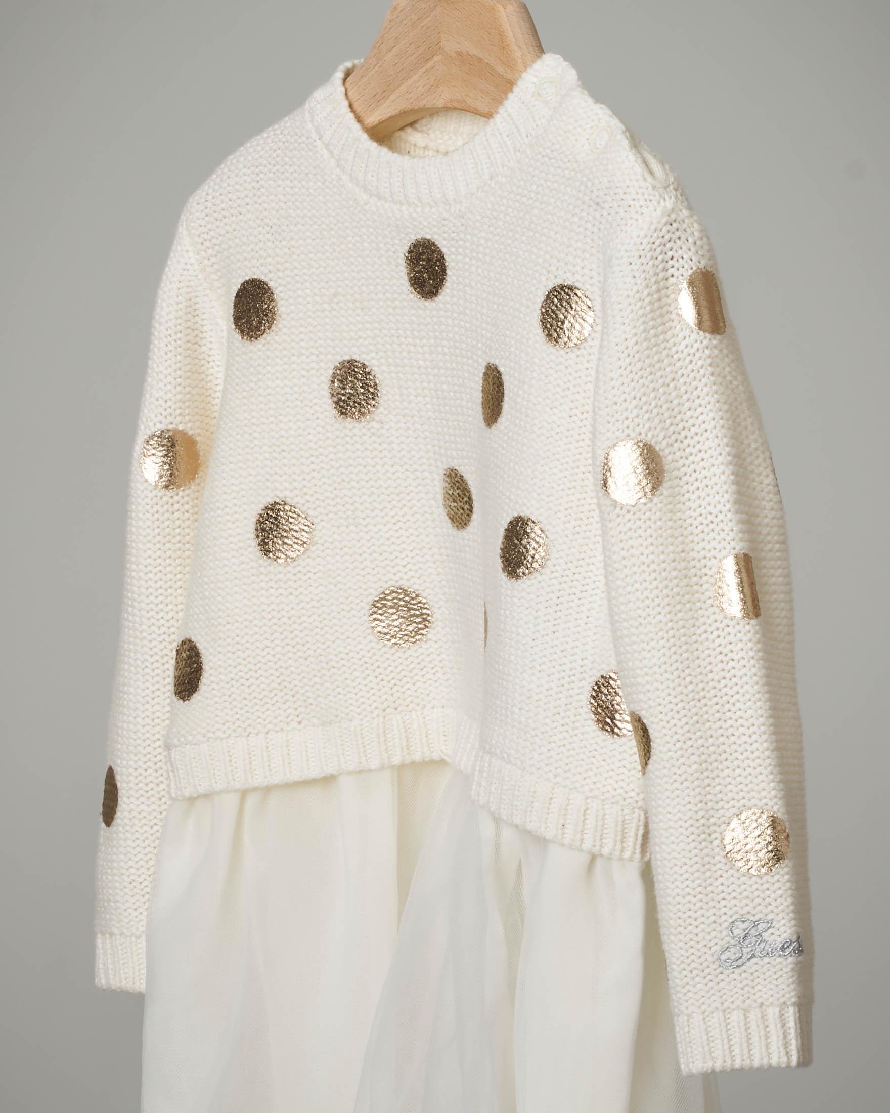 Abito avorio tricot con tulle
