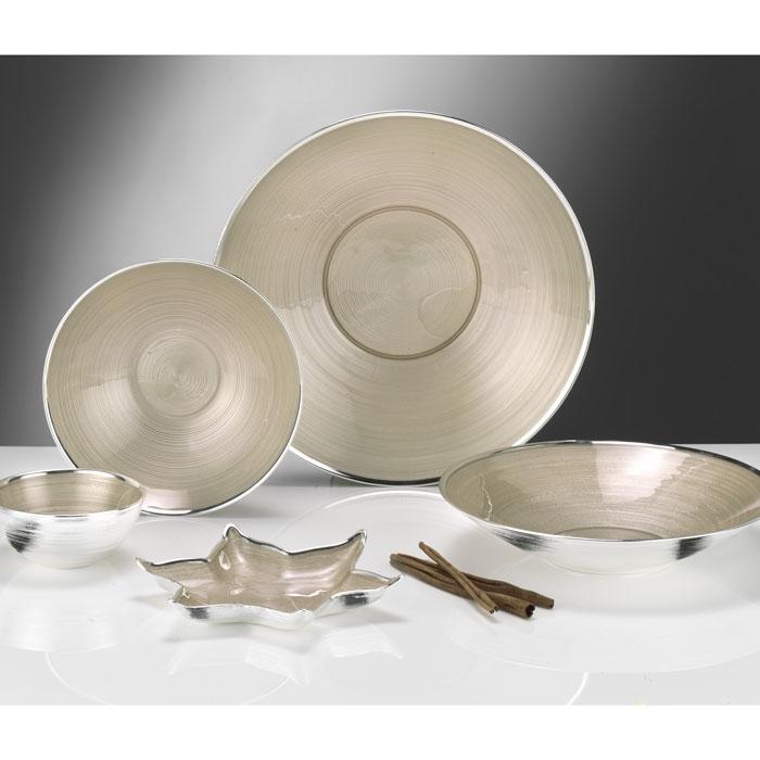 Ciotola in vetro argentato nude  collezione marte diametro 15 cm