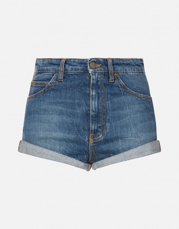 Hot pants in denim con patch