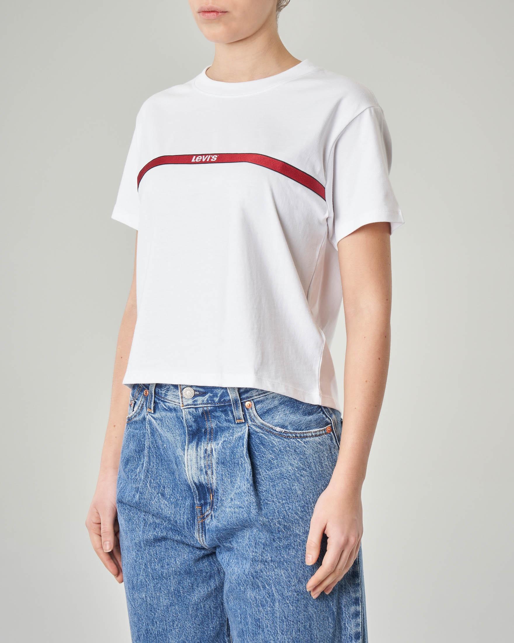 T-shirt cropped bianca con logo