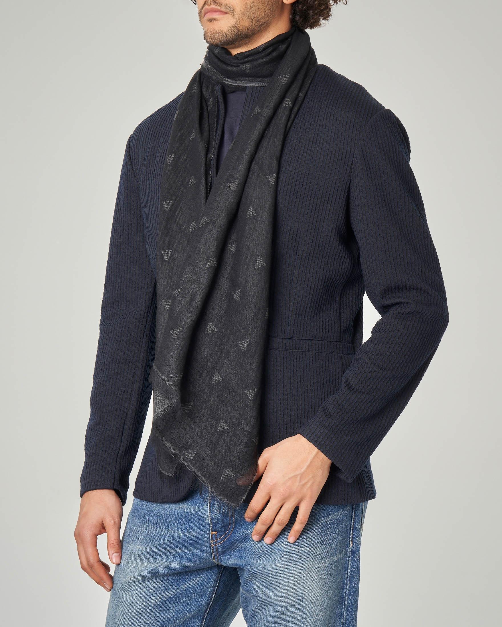 Sciarpa nera in cotone e modal