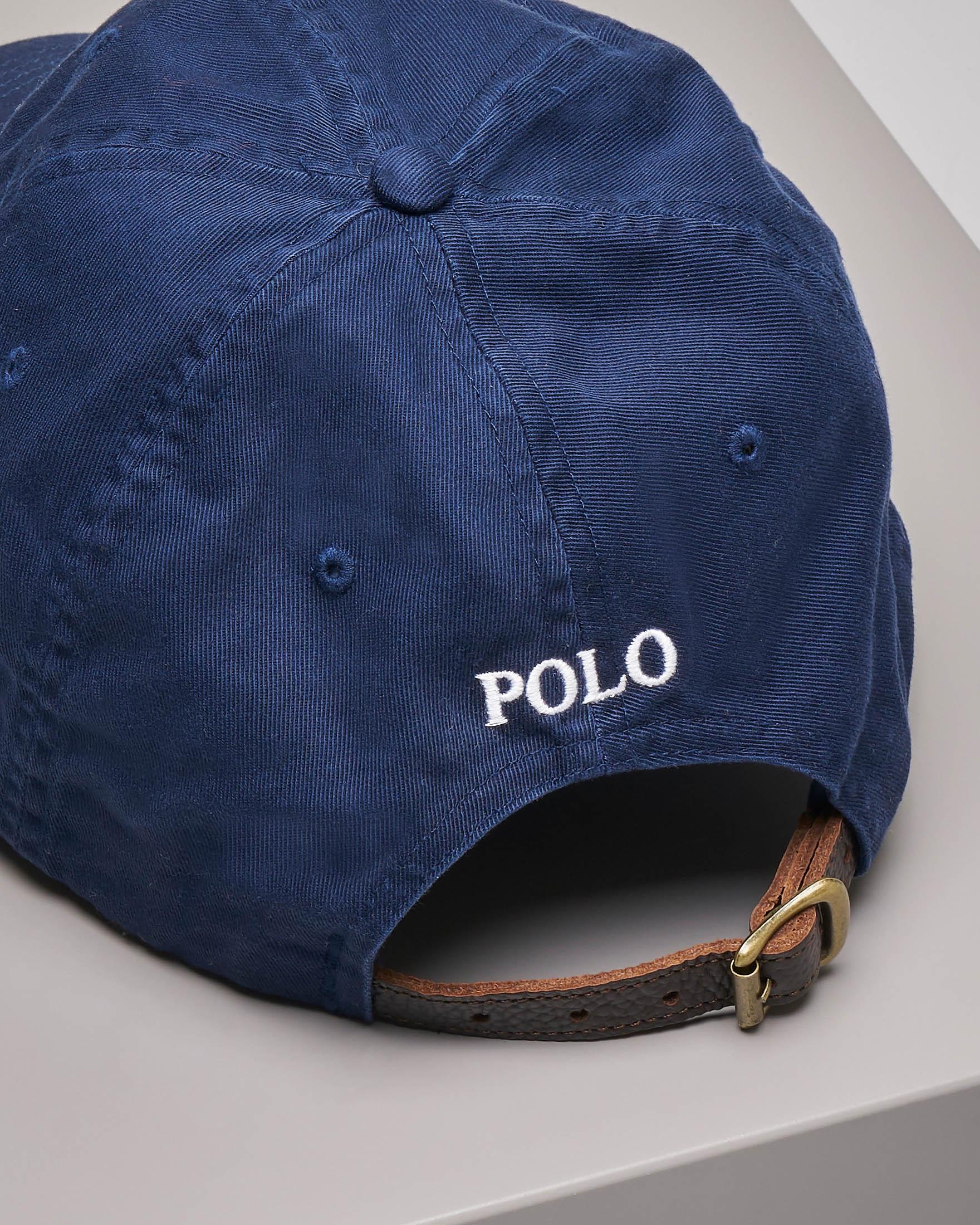 Berretto blu con frontino e big logo
