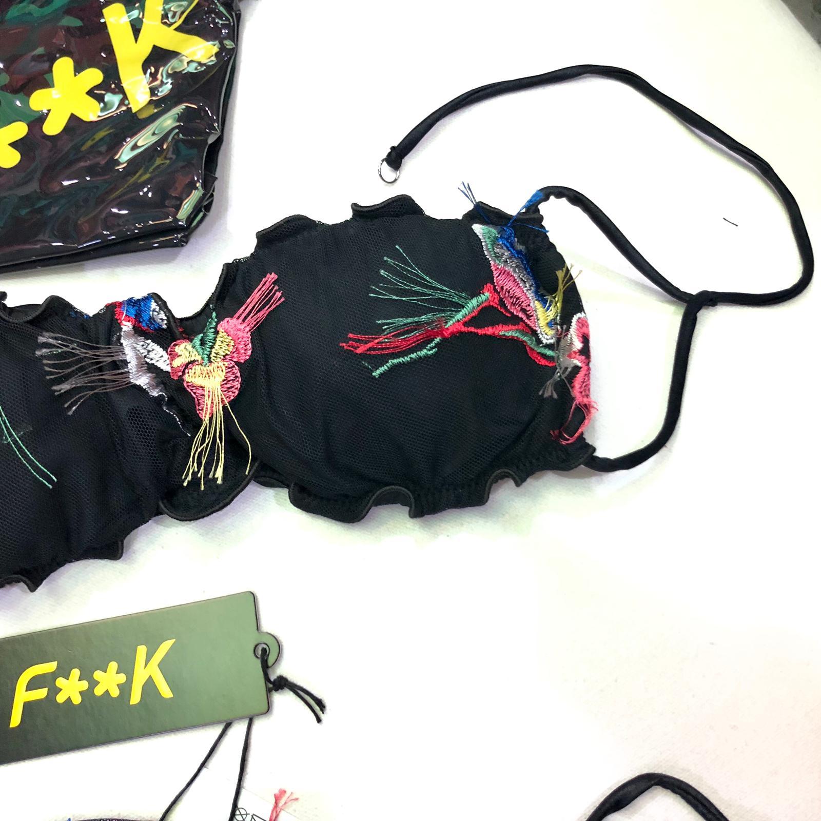 Bikini Fascia e slip laccetto laterale Tulle Fiori Effek