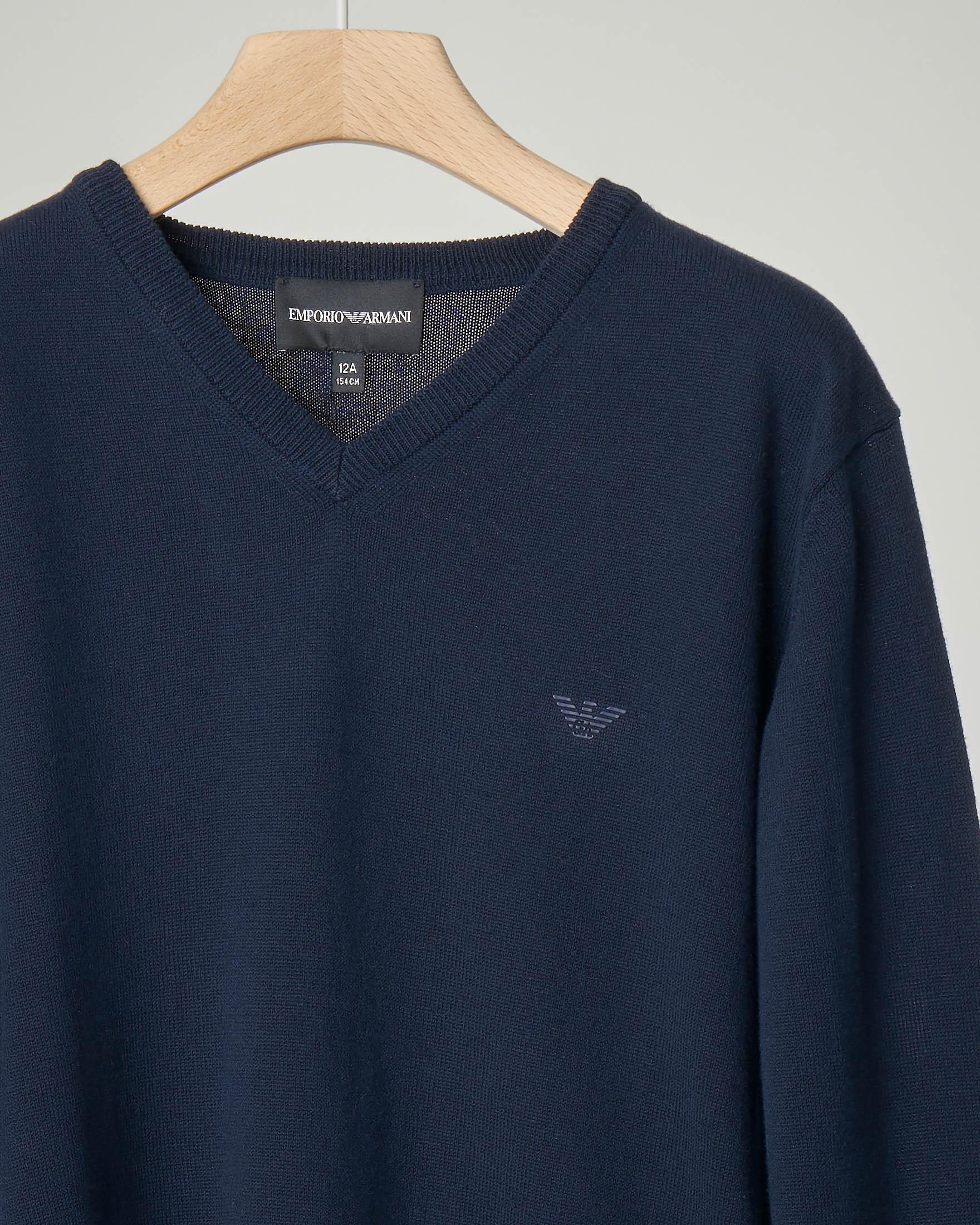 Maglia blu scollo a V in cotone