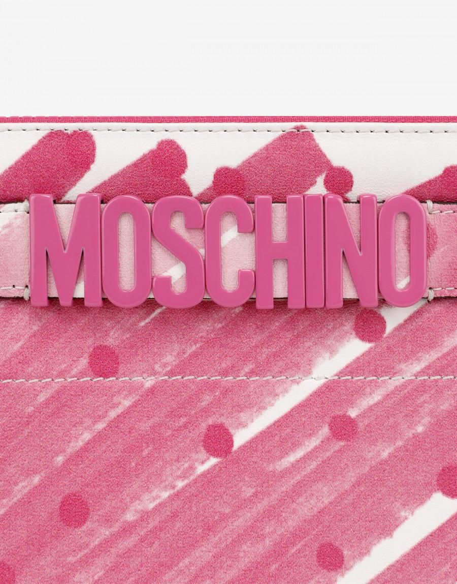 Clutch Brushstroke Polka Dots con logo