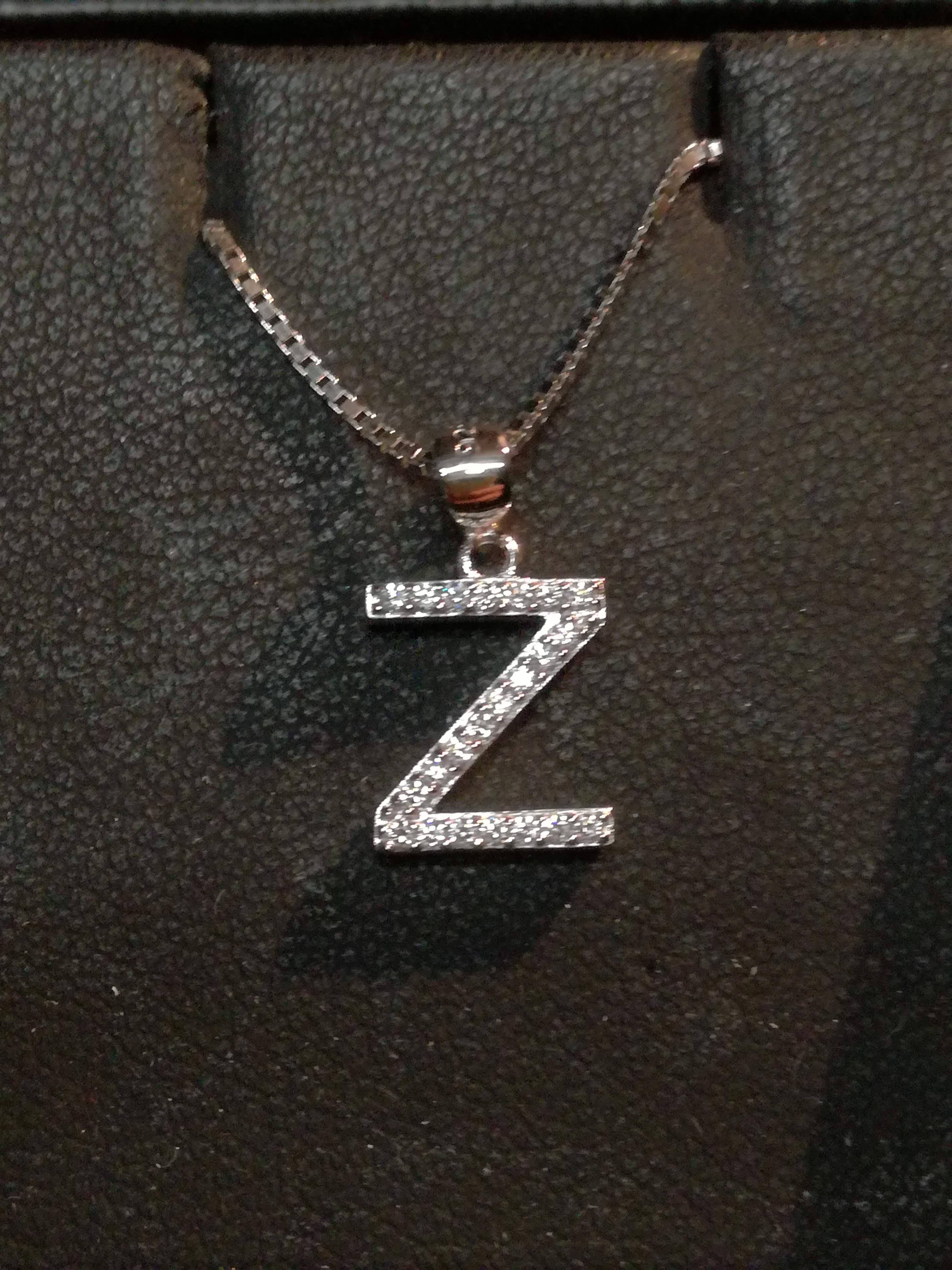 Girocollo argento iniziale Z con Swarovski sconto 50%