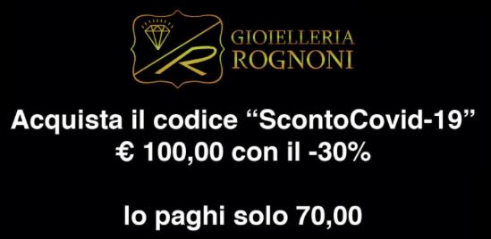 Buono Sconto -30 % Emergenza Corona Virus Covid-19 Cremona Lombardia Italia
