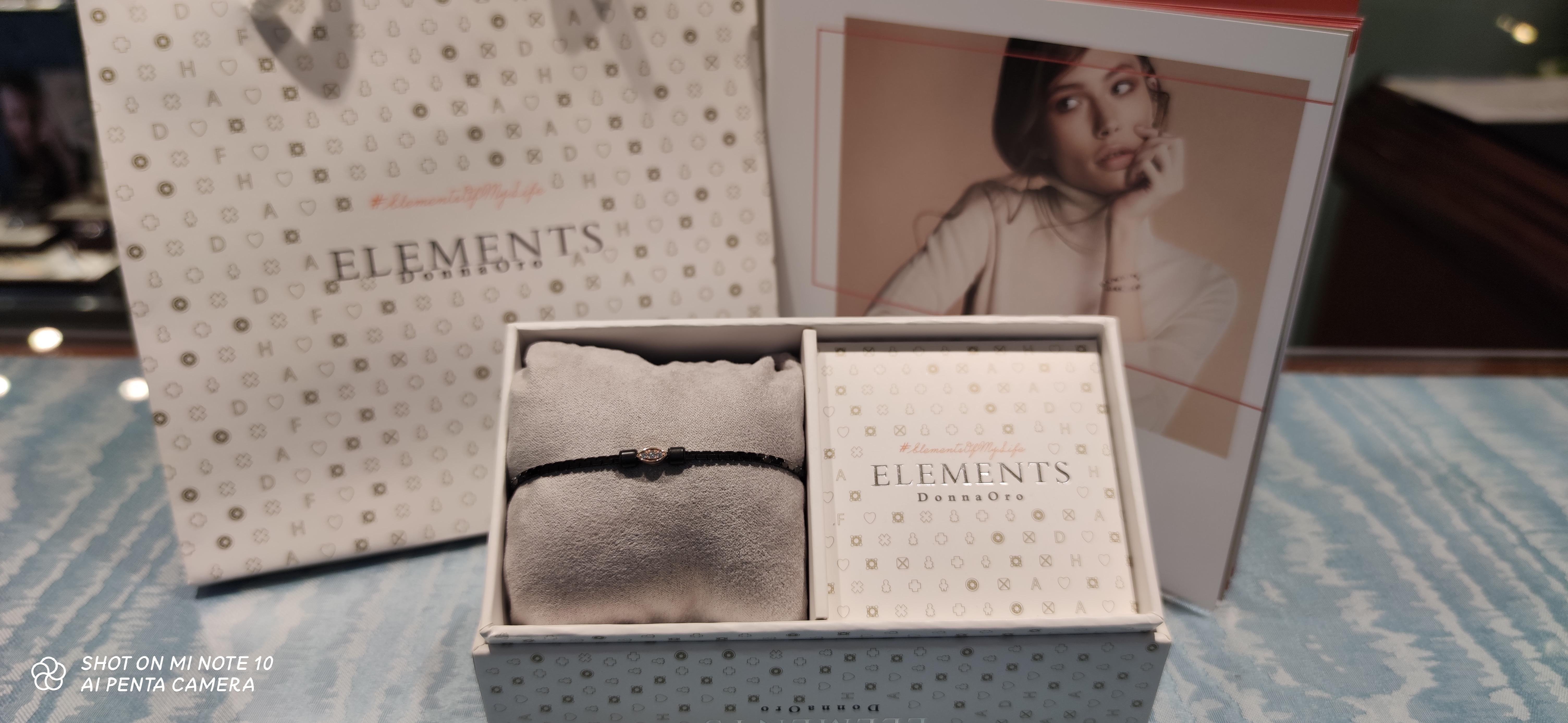Bracciale Elements Donnaoro con elemento Navette Oro rosa e diamanti