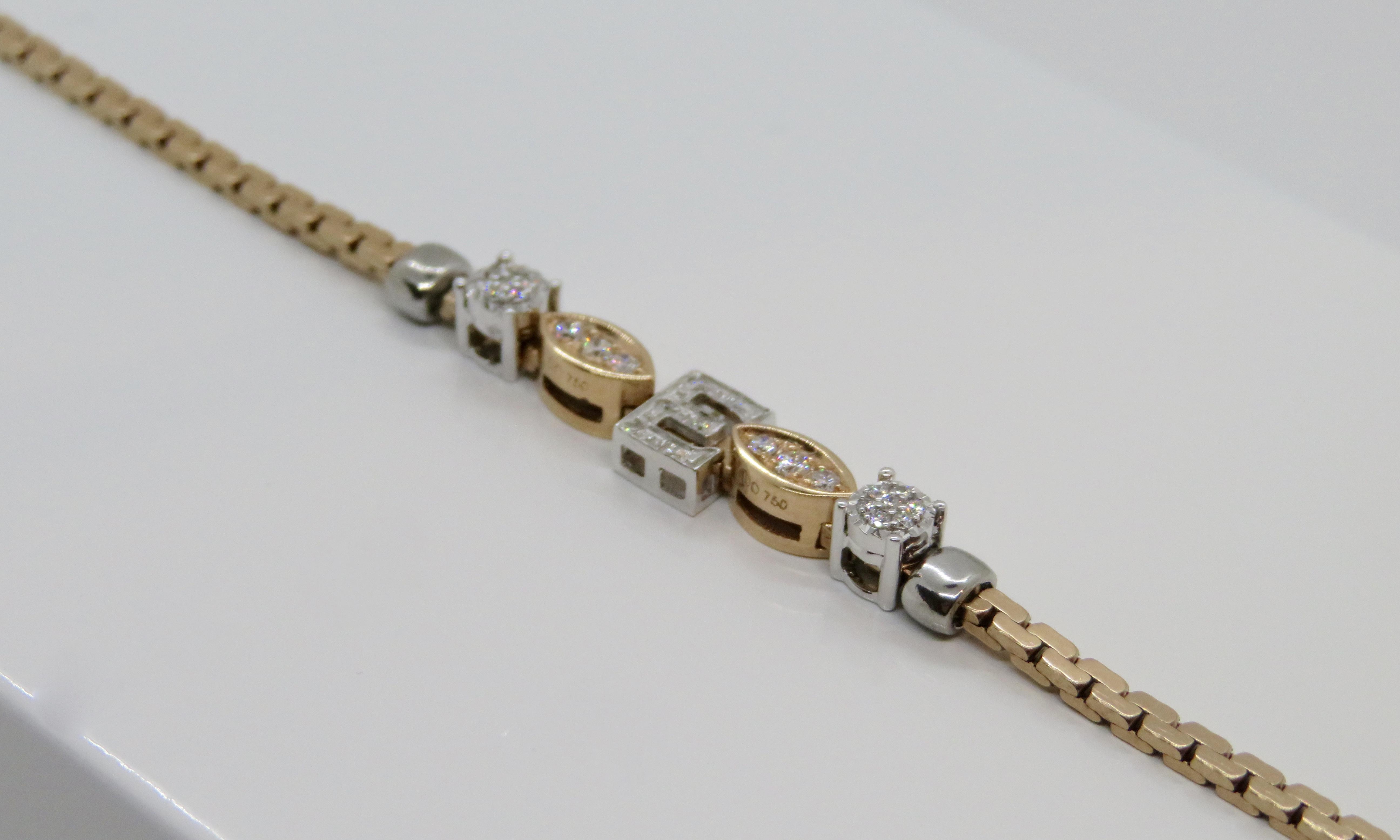 Bracciale Elements Rosè Donnaoro lettera E Oro bianco e Diamanti